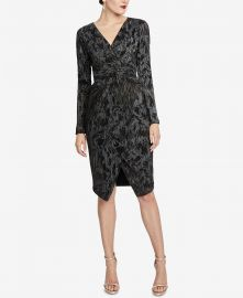 Pleated Faux-Wrap Dress at Macys