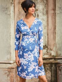 Pleated Floral Maternity Wrap Dress at A Pea in the Pod