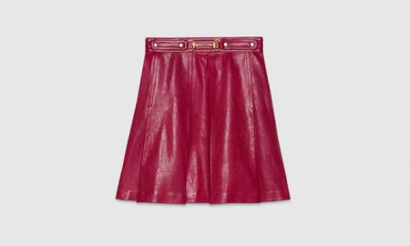 Pleated Leather Skirt in Red at Gucci