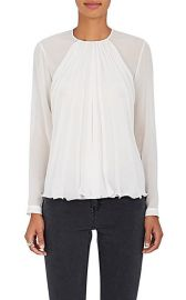 Pleated Mulberry Silk Blouse  at Barneys