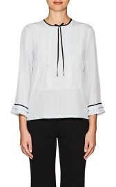 Pleated Silk Blouse at Barneys