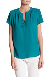 Pleated Split Neck Blouse at Nordstrom Rack