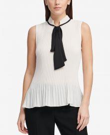 Pleated Tie-Neck Top DKNY at Macys