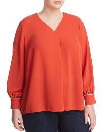 Pleated V-Neck Top Blouse at Bloomingdales