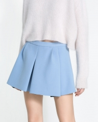 Pleated blue skirt at Zara