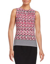 Pleated border shell by Calvin Klein at Lord & Taylor