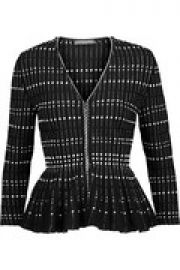 Pleated boucl  -knit peplum jacket at The Outnet