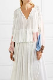 Pleated color-block crepe blouse at Net A Porter