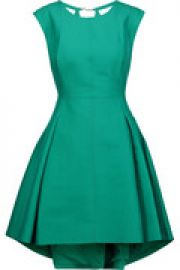Pleated cotton and silk-blend mini dress at The Outnet