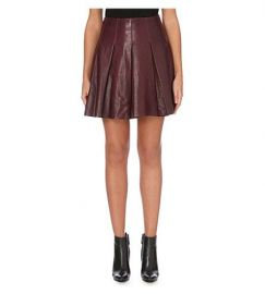 Pleated leather skirt at Karen Millen