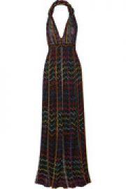 Pleated metallic crochet-knit halterneck maxi dress at The Outnet
