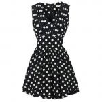 Pleated polka dot dress at Amazon