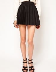 Pleated skirt in leather look at Asos