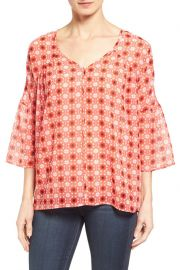 Pleione Bell Sleeve Print Chiffon Blouse at Nordstrom Rack
