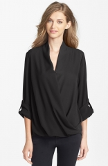 Pleione Faux Wrap Blouse in black at Nordstrom