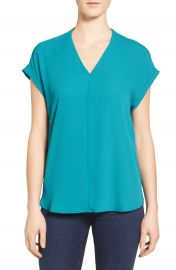 Pleione High Low V-Neck Mixed Media Top  Regular   Petite at Nordstrom