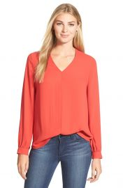 Pleione HighLow V-Neck Blouse in Red at Nordstrom
