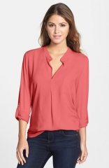 Pleione Mixed Media Roll Sleeve Top at Nordstrom