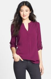 Pleione Mixed Media Tunic in purple at Nordstrom