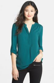 Pleione Mixed Media Tunic in teal at Nordstrom