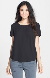 Pleione Pleat Back Woven Print Top in black at Nordstrom