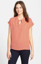 Pleione Print Split Neck Blouse at Nordstrom