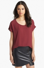 Pleione Scoop Neck Short Sleeve Blouse at Nordstrom