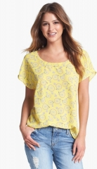 Pleione Scoop Neck Short Sleeve Blouse in yellow at Nordstrom