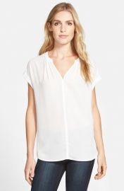 Pleione Split Neck Top in White at Nordstrom