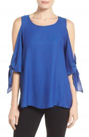 Pleione Tie Sleeve Cold Shoulder Top at Nordstrom