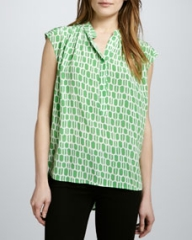 Plenty Cap-Sleeve Peasant Top at Neiman Marcus