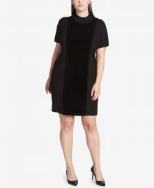 Plus Size Velvet-Front Sweater Dress at Macys