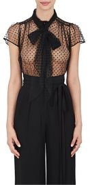Polka Dot Mesh Tieneck Blouse at Barneys