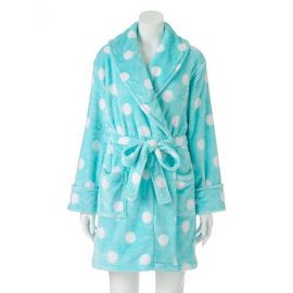 Polka Dot Plush Wrap Robe at Kohls
