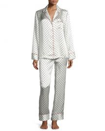 Polka Dot-Print Silk Pajama Set at Neiman Marcus