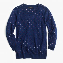 Polka-dot Tippi sweater with shoulder buttons in midnight dahlia at J. Crew