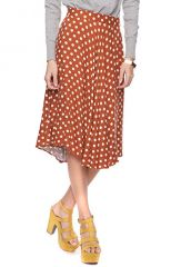 Polka dot calf skirt at Forever 21