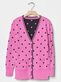 Polka dot long cardigan at Gap