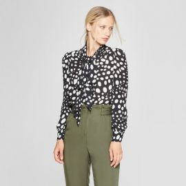 Polka dot long sleeve tie neck blouse by Who What Wear at Target at Target