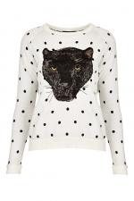 Polka dot panther sweatshirt at Topshop
