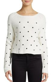 Polka dotted cropped knit sweater at Saks Off 5th
