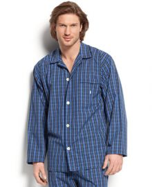 Polo Ralph Lauren Mens Harwich Plaid Long-Sleeved Pajama Top - Pajamas Robes and Slippers - Men - Macys at Macys