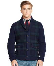 Polo Ralph Lauren Tartan Shawl Cardigan Sweater at Macys
