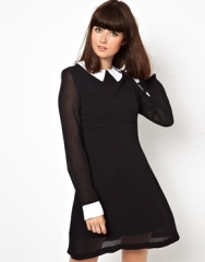 Pop Boutique  Pop Boutique Coco Dress with Collar at Asos