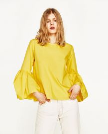 Poplin Top with Pleated Sleeves at Zara