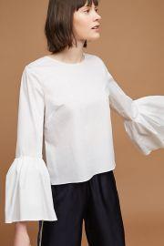 Poplin bell sleeve blouse at Anthropologie