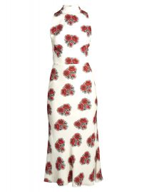 Poppy-print ruffled-back high-neck crepe dress by Alexander McQueen at Matches
