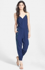 Porridge Contrast Trim Surplice Jumpsuit at Nordstrom
