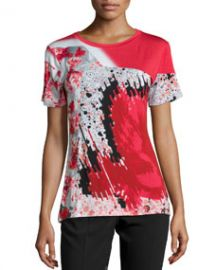 Prabal Gurung Short-Sleeve Abstract-Print T-Shirt CrimsonBlack at Neiman Marcus