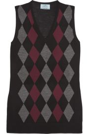 Prada   Argyle wool top at Net A Porter